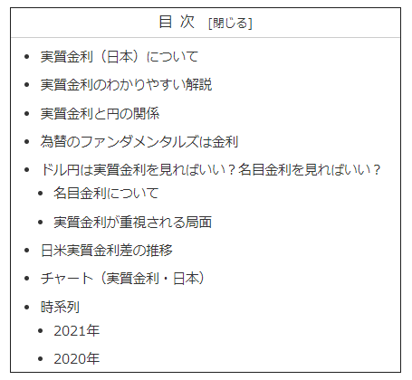 実質金利(日本)の目次