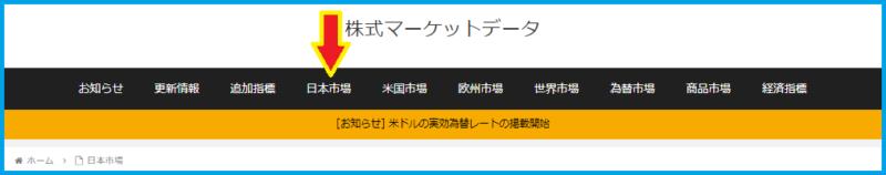 メニュー欄の日本市場